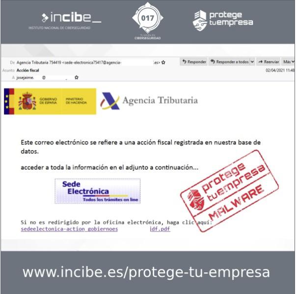 Aviso de Correos fraudulentos suplantando a la AGENCIA TRIBUTARIA